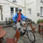 Outside Plas Dinas setting off on bike ride