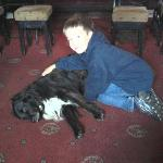 My son with Jack the pub dog