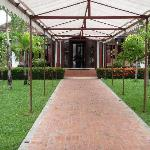 Covered pathway to the reception area