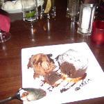 Chocolate fondant with choc ice cream.