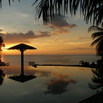 Sunset from the infinity pool at LumbaLumba