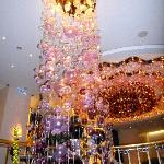 Blown glass chandeliers in the lobby
