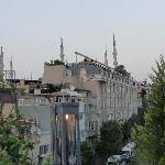 View of blue mosque from rooftop