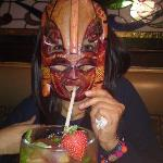 an alien sipping our drink ....