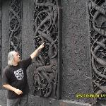 Tour guide at Urnes stave church