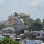 View of City Palace and Jagdish Temple from high roof top restaurant