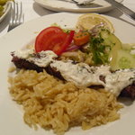 Lamb with rice and salad and a little bit of tzatziki