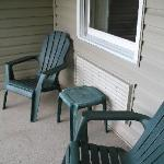 Private balcony with two chairs and a table.  A/C unit was quiet.