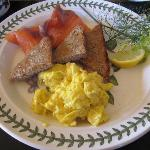 Smoked Salmon and Scrabled Eggs - home made bread - delicious!