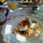 Migas w/ Poached Eggs, oj, and coffee