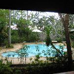 Blick von unserer Villa zum Pool