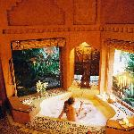 Each room has large baths with candles and incense