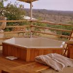 Bath on veranda of guest tent