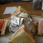 Club sandwich and baked potato