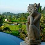 piscine et statue