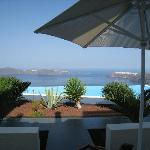 View from our apartment across the pool to the caldera