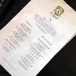 Lunch menu in summer of 2010