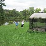 Gazebo in the sprawling meadow behind the cottages