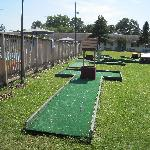 Part of the poolside mini-golf course