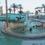 area with whirlpool/cyclone effect, water slide