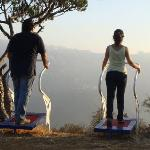 on the outdoor fitness equipment