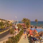 view from walk over bridge of beach club