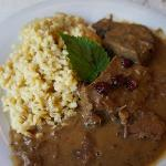 Local meat in a wine gravy from the Rhein valley