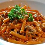 Home made corkscrew pasta w/ our secret' meat sauce