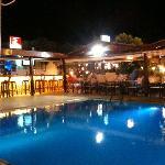 Bar and eating area at night