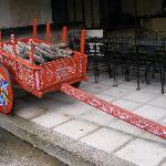 painted oxcart near the pool and breakfast room