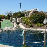 Course, Water, Crab & Net to retrieve ball at Long Neck Mini-Golf