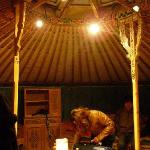 Yurt Interior with low table & cabinets