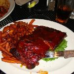 The barbeque ribs.