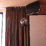 70's fishbowl lamp mounted on wardrobe