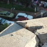Broken concrete on balcony