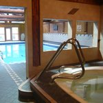 Pool and hot tub in pool house