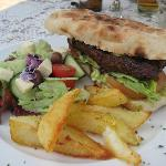 Lamb burger on rooster brood