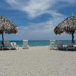 Foto general de la playa con reposeras y sombrillas