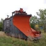Old train snow plow