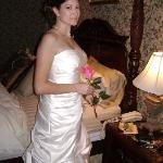 My beautiful wife modeling her wedding gown in the carriage house.