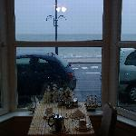 View from breakfast table on a rainy morning