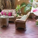 Back deck also includes hammock, deck furniture, free washer/dryer