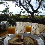Breakfast at beach cafe.  Cannot be better