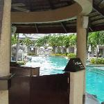The pool area through the pool bar