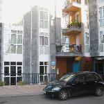 Hotel Nochendi on 1st flr; pvt apt/condos above; restaurants below.