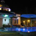 The pool at night with color synchronized led lights, you might just feel you are in your own pr