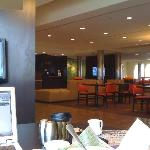 private seating areas with tv's in the lobby.