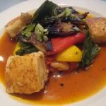 Lunch,Summer stew with scallopini squash, borlotti beans, roast aubergine, peppers and collard g