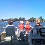city kids on the pontoon boat