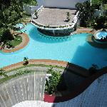 View of the pool from my 5th floor balcony
